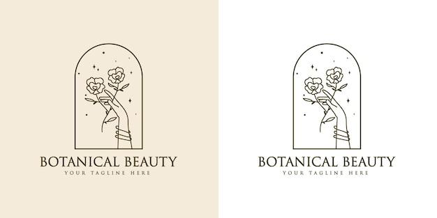 Feminine beauty boho logo with feminine hand flower nails star premium
