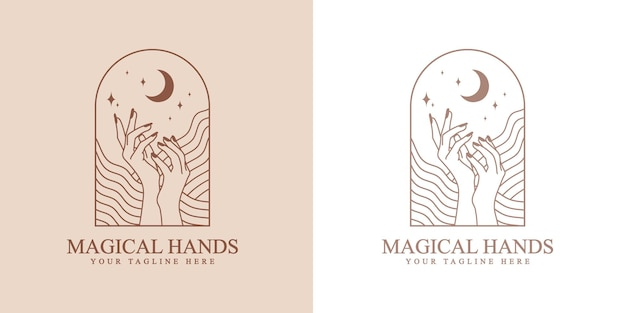Feminine beauty boho logo with feminine hand waves star moon nails for beauty skin care brand