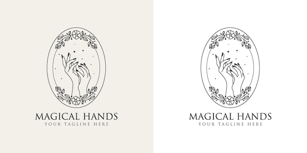 Feminine beauty boho logo with feminine hand with floral wreat moon nails heart stars crystal