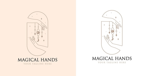 Feminine beauty boho logo with feminine magical eye hand butterfly moon nails heart stars crystal