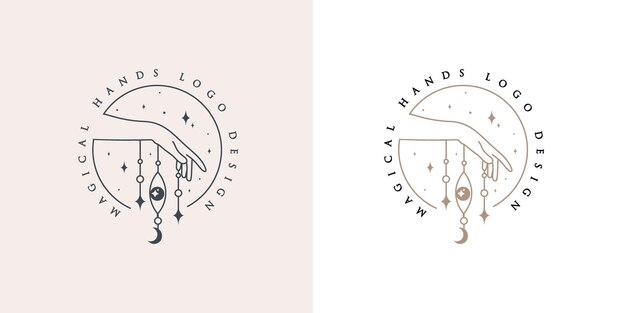 Feminine beauty boho logo with feminine magical hand eye moon nails heart stars crystal premium
