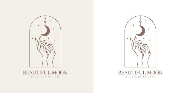 Feminine beauty boho logo with feminine magical hand moon nails stars premium