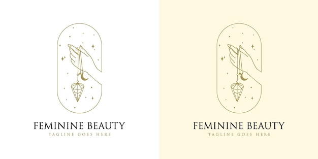 메이크업 살롱 스파 브랜드를 위한 여성 손 네일 크리스탈 다이아몬드와 스타가 있는 여성스러운 아름다움 boho 로고