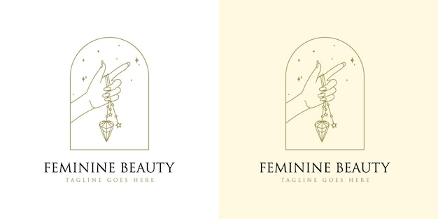 Feminine beauty boho logo with woman hand nail crystal diamond and star for makeup salon spa brand