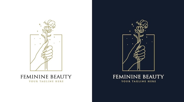 Feminine beauty boho logo with woman hand nail flower butterfly and star for salon spa brand