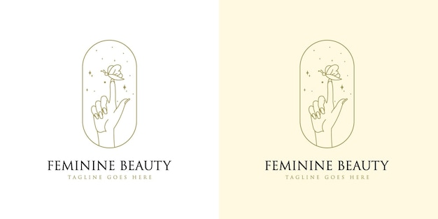 Feminine beauty boho logo with woman hand nail star and butterfly for makeup salon spa brands