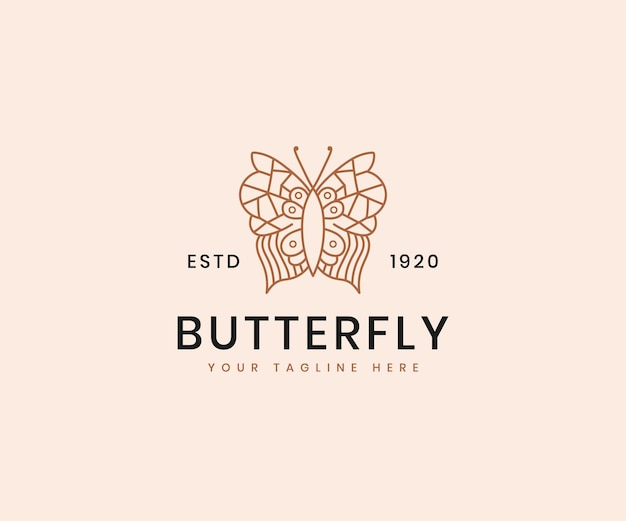 Feminine beauty butterfly line art elegant luxury logo design template for cosmetic brand