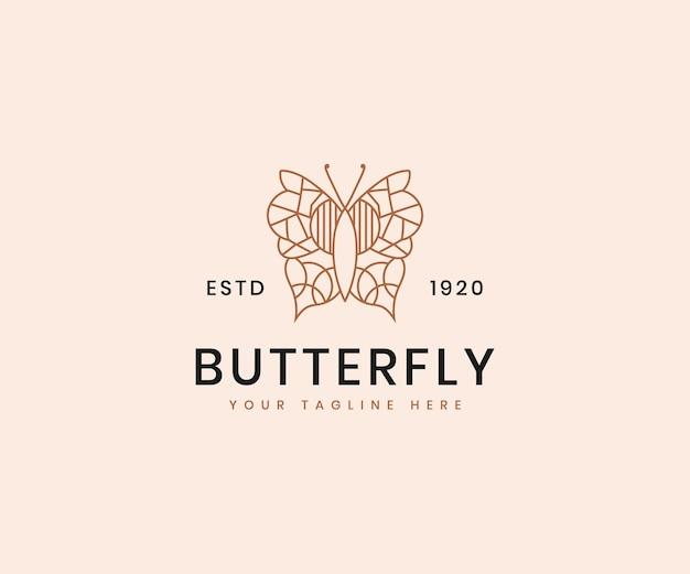 화장품 브랜드에 대한 여성의 아름다움 나비 라인 아트 우아한 고급 로고 디자인 템플릿