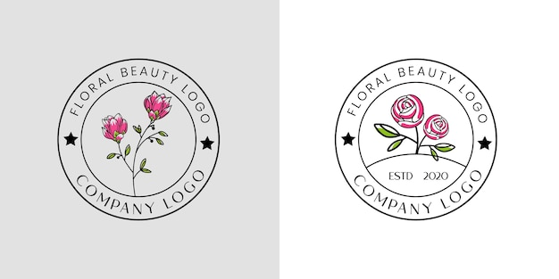 Feminine beauty floral logo for beauty salon spa and boutique and cosmetic business
