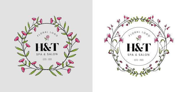 ビューティーサロンスパ、ブティック、コスメティックビジネス向けのフェミニンなビューティーフローラルロゴ