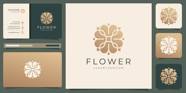 Плоский дизайн женской красоты цветок. роскошный дизайн шаблона. логотип и визитная карточка вдохновения