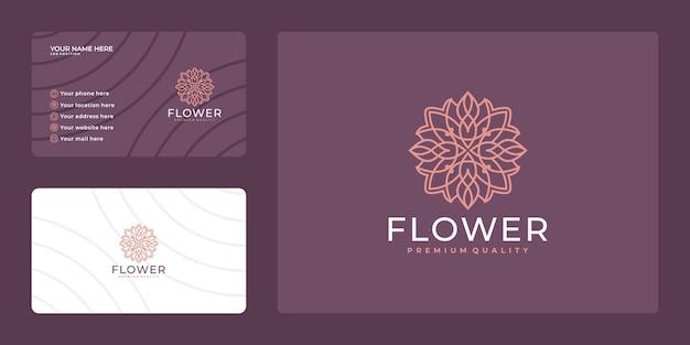 フェミニンな美しさの花のロゴ。豪華なデザインと名刺