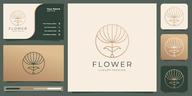 フェミニンな美しさの花のロゴ高級デザインテンプレートコンセプトサロンとスパラインアートサークルシェイプロゴとミニマリストの抽象的なroselogoアイコンと名刺テンプレートプレミアムベクトル