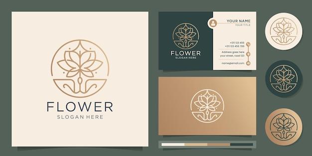 フェミニンな美しさの花のロゴサロンとスパフレームラインアートモノグラム形状ロゴゴールドアイコンと名刺デザインテンプレートプレミアムベクトル