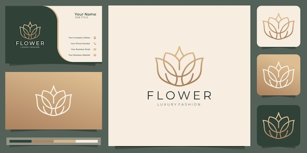 Feminine beauty flower logo with creative line art style and business card template premium vector