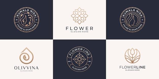 フェミニンな美しさのロゴデザインコレクション。女性、花、オリーブ、ゴールドのエンブレム、ラインアートスタイル、ブランドロゴ、コーポレートアイデンティティの装飾