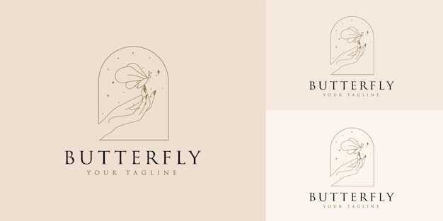 Feminine beauty logo with hands butterfly stars and woman hand for makeup spa salon skin hair care