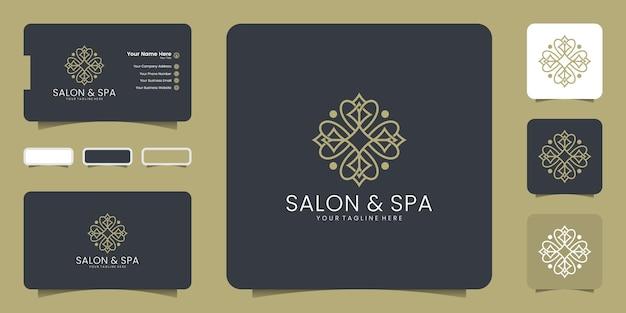 Женский салон красоты и спа-салон в форме цветка с логотипом, значком и шаблоном визитной карточки