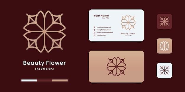 여성미용실과 스파 라인 아트 모노그램 모양 로고 디자인 영감.