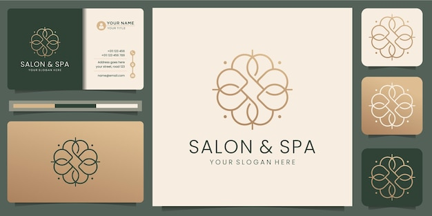 여성 미용실 및 스파 라인 아트 모노그램 모양 logo.golden 로고 디자인, 아이콘 및 명함 서식 파일. 프리미엄 벡터