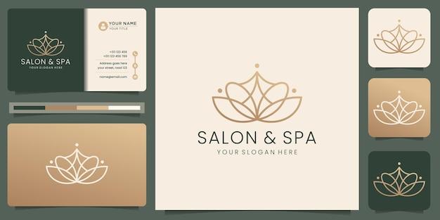 여성 미용실 및 스파 라인 아트 모노그램 모양 로고 골든 로고 디자인 아이콘 및 명함 템플릿 프리미엄 벡터
