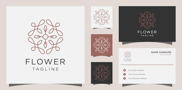 여성 미용실 및 스파 라인 아트 모양 로고. 꽃 로고 디자인, 아이콘 및 명함 서식 파일
