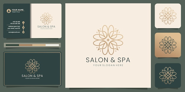 Feminine beauty salon and spa line art monogram shape logo. golden, icon and business card template.
