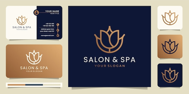 Feminine beauty salon and spa line art monogram shape logo. logo design, icon and business card template.