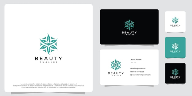 Feminine beauty salon and spa line logo design icon and business card template