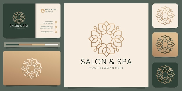 Feminine beauty salon and spa logo line art monogram shape abstract flower minimalist luxury golden design icon and business card template premium vector
