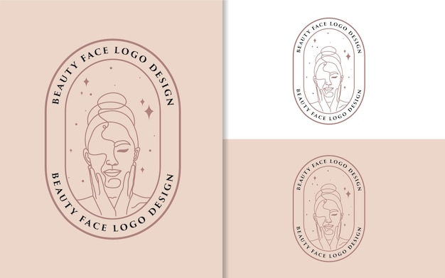 Feminine beauty woman face minimalist line art hand drawn logo portrait