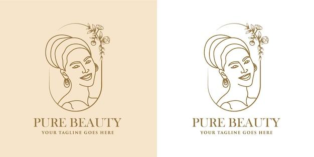 Feminine beauty woman face minimalist line art hand drawn logo