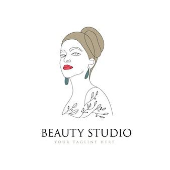 フェミニンな美しさの女性の髪と顔のロゴデザイン