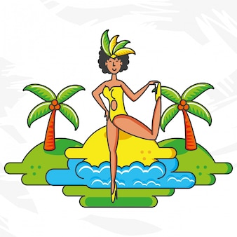 Feminine brazilian dancer character