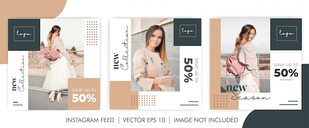Feminine bundle new collection  social media banner template