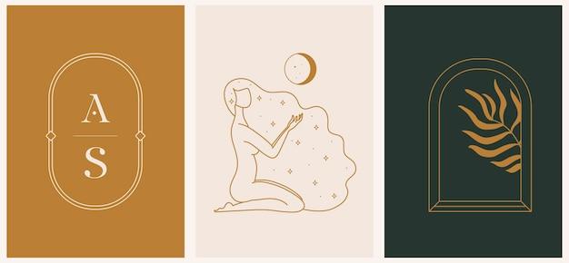 フェミニンなコンセプトイラスト、美しい難解な女性のシルエットとアルケー、ヤシの葉と文字のロゴテンプレート