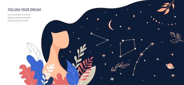 여성 컨셉 일러스트, 아름다운 여자, 별이 가득한 머리 밤하늘. 꽃과 잎으로 장식 된 캐릭터. 평면 스타일 벡터 디자인 모음