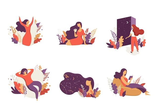 여성 개념 그림입니다. 꽃과 잎으로 장식 된 여성 캐릭터.