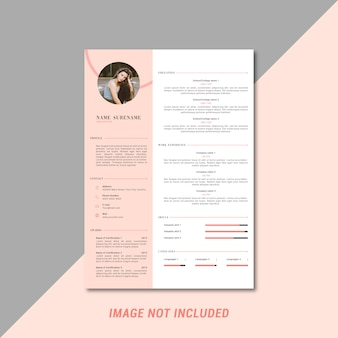 Feminine curriculum vitae template design