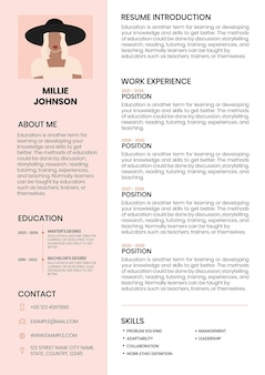 Feminine cv editable template resume for entry level and professionals