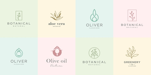 Женский дизайн логотипа коллекции. элегантные розы, ботаника, алоэ вера, оливковое масло, зелень и природа.