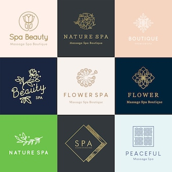 Feminine editable floral logo designs for beauty and wellness concept