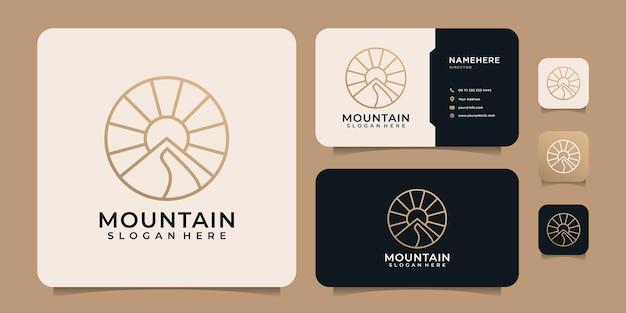 フェミニンなエレガントなライン山の夕日の太陽の光のロゴのデザイン要素
