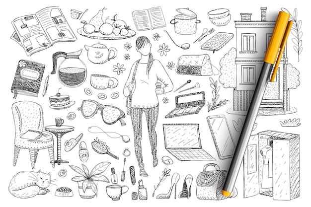 フェミニンな日常の必需品落書きセット。手描きの女性と猫、服、靴、ワードローブ、食器、化粧品、アクセサリー、猫、家の詳細のコレクション
