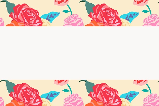 Женственная цветочная бежевая рамка с разноцветными розами на белом фоне