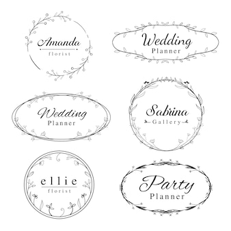 Feminine floral frame logos template with hand drawn border frame.