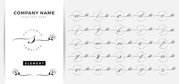フェミニンな花の手紙のロゴのテンプレート