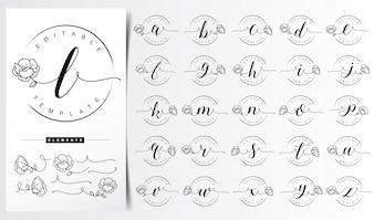 女性の花の手紙のロゴのテンプレート