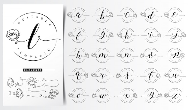 Feminine floral letter logo template