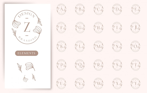 Feminine floral letter logos collections
